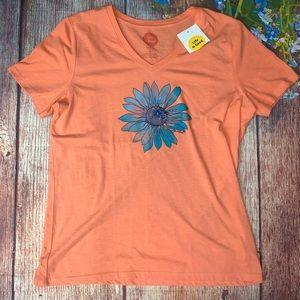 NWT LIFE IS GOOD Peach Blue Floral T-shirt medium